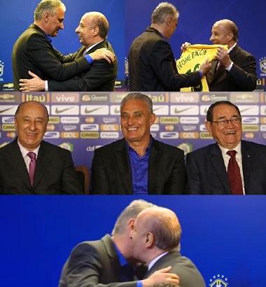 Tite, com Del Nero e entre o presidente e Coronel Nunes, abaixo, o beijo