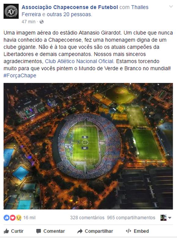 Chapecoense agradeceu ao Atlético Nacional pelas homenagens