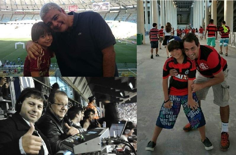 Paulo Julio com Theo, Victorino com o pequeno Victorino, Deva com Mário Marra: Fla-Flu narrado do céu