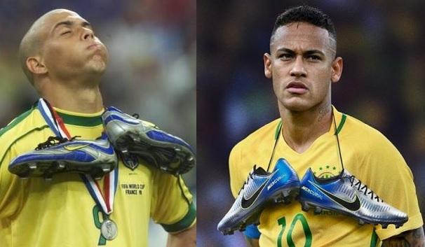 a51d0a7990d8d Ronaldo com a medalha de vice na Copa de 1998 e Neymar