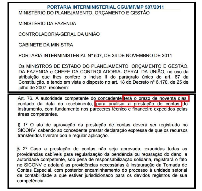 Portaria Interministerial da CGU exige prestações de contas em 90 dias