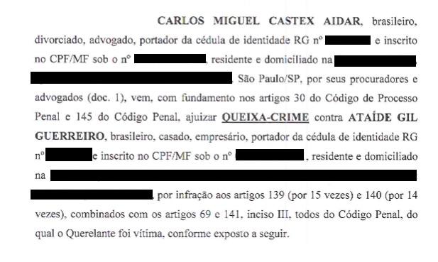 Aidar ingressou com queixa-crime contra Ataíde