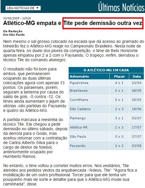 Sequência péssima no Atlético, que seria rebaixado ao final, fez Tite sair do Galo em 2005
