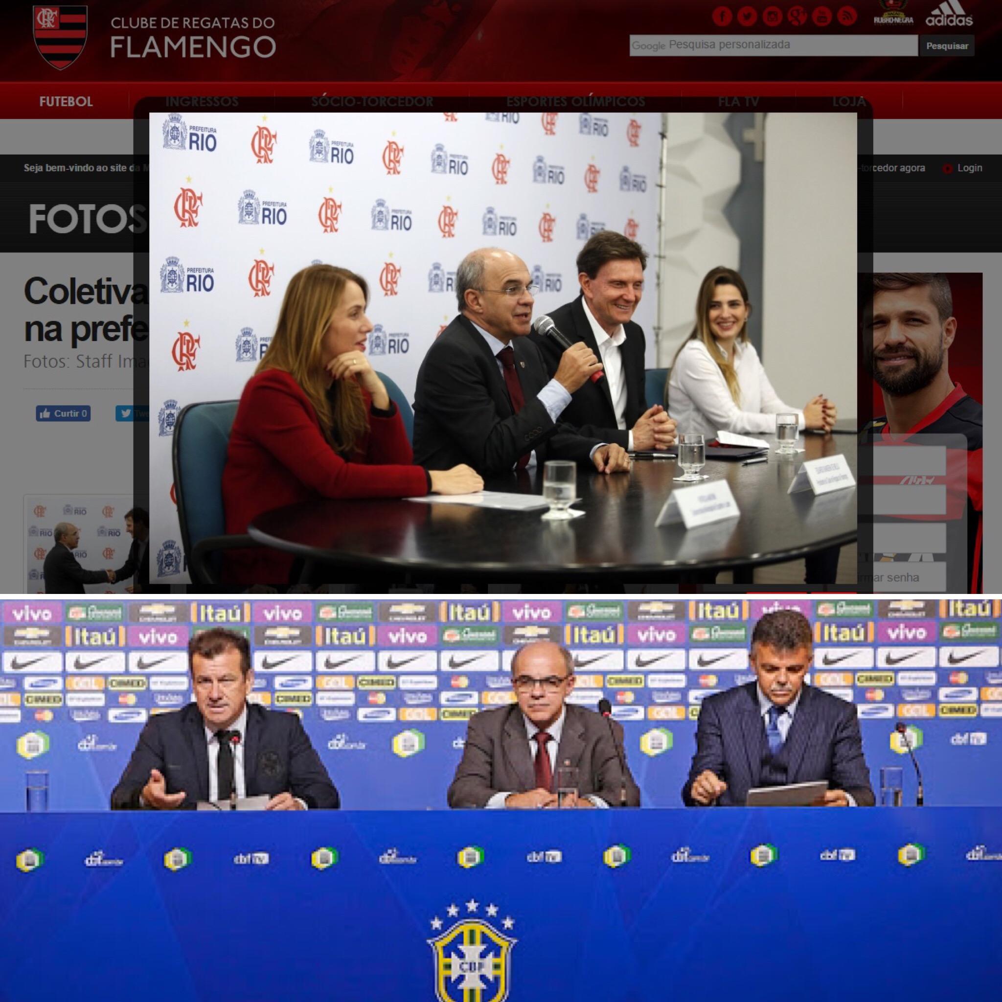 Presidente do Flamengo com o prefeito do Rio, Marcelo Crivella, e em convocação da seleção