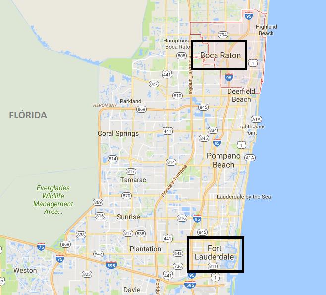 Mapa mostra a proximidade entre as duas cidades
