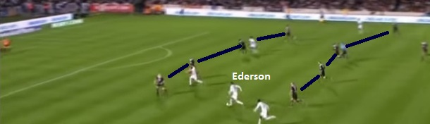 Flagrante de Ederson pelo Lyon recebendo entre as linhas de quatro, partindo da esquerda para dentro buscando a finalização.