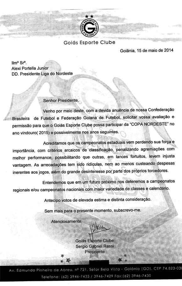 A carta enviada pela diretoria esmeraldina à Liga do Nordeste