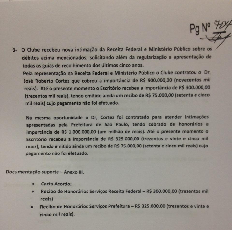 Terceiro pagamento feito pelo SPFC a Cortez