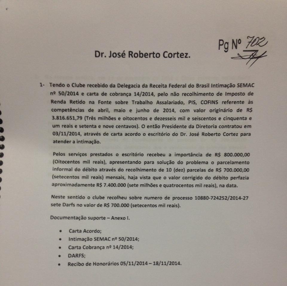 Primeiro pagamento feito pelo SPFC a Cortez
