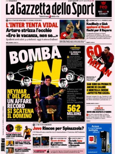 """O diário italiano, Gazzeta dello Sport: """"BOMBA!"""" """"Negociação recorde entre Neymar e PSG desencadeou um domínio"""""""