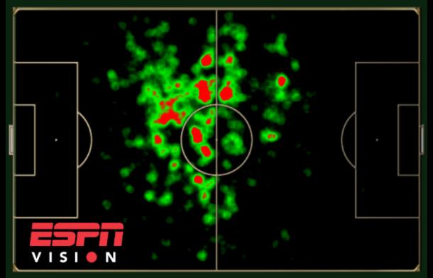 Mapa de movimentação de Rafael Carioca em ações com a bola: forte trabalho entre as intermediárias organizando as jogadas.