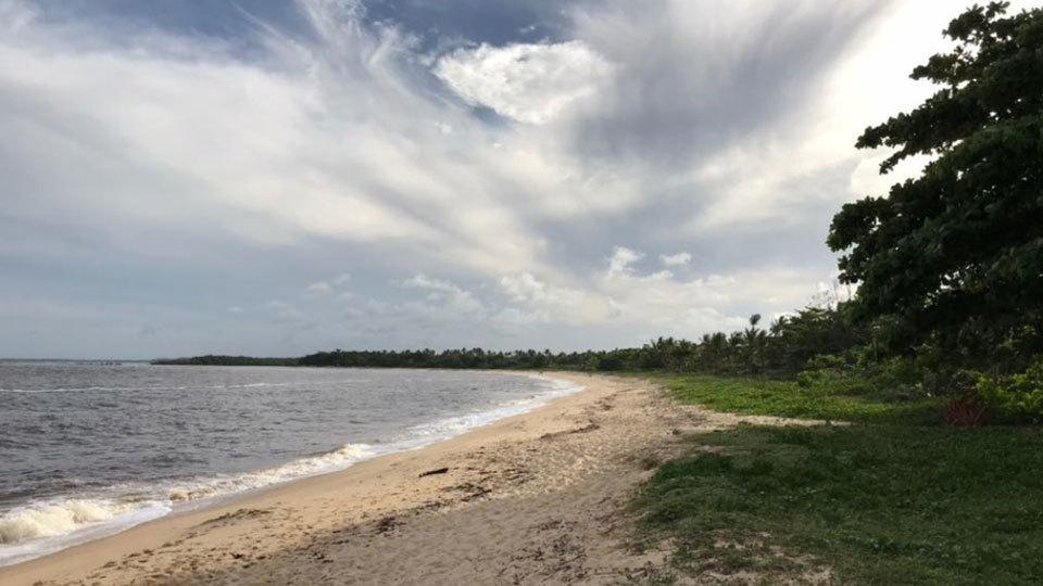 Praia praticamente selvagem, de areias desertas e mar agitado