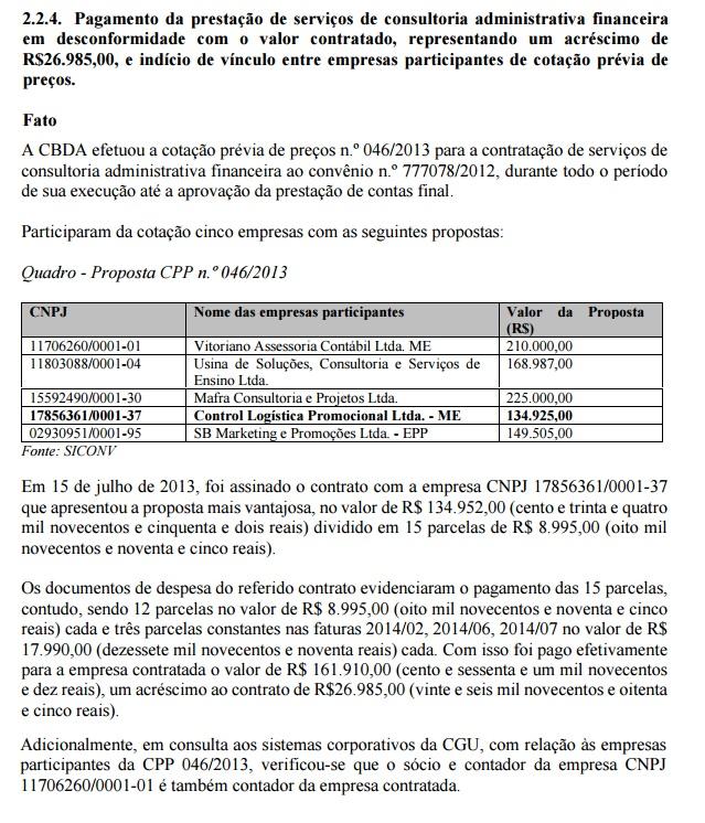 Licitação de Desportos Aquáticos teve irregularidade vista pela CGU