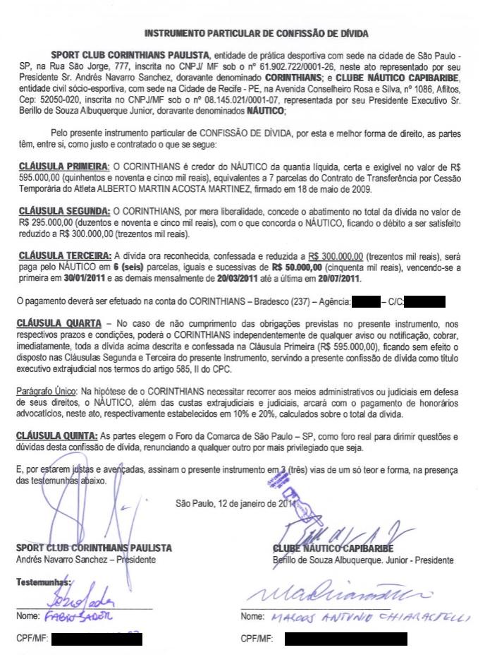 Náutico deve dinheiro ao Corinthians por causa de Acosta