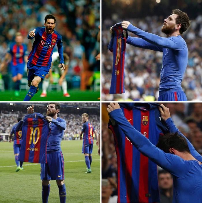 Messi exibe a camisa do Barcelona aos torcedores: gesto de audácia do craque argentino