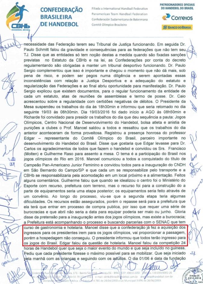 Ata confirma pagamento de benefícios a cartolas durante o Rio 2016
