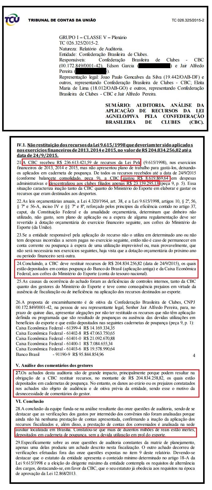 Confederação de Clubes aplicou R$ 204 milhões em contas poupança