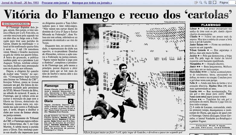 Página da editoria de Esportes do Jornal do Brasil de 26 de fevereiro de 1993