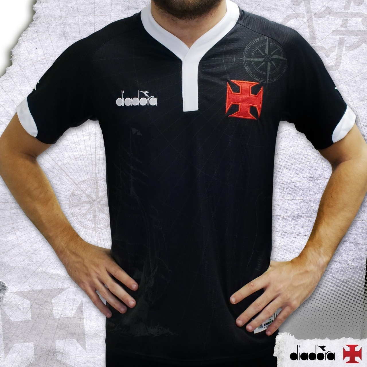 Vasco capricha em nova camisa 3 inteira preta  bd397981b66af