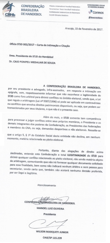 Em carta, presidente da CBHb diz que não vai reconhecer decisão do STJD, caso seja contrária a ele