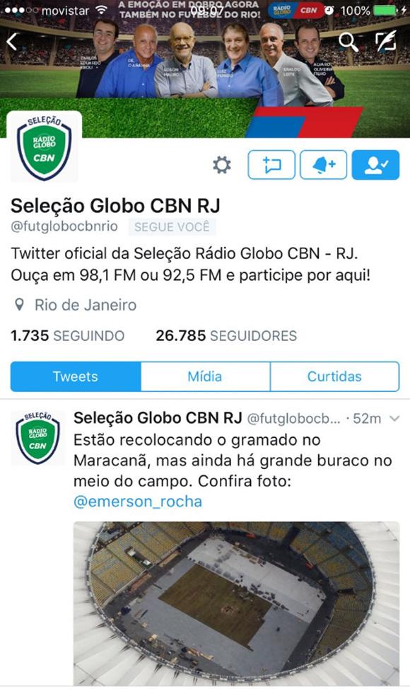 Twitter da Rádio Globo mostrou o buraco no meio do gramado do Maracanã