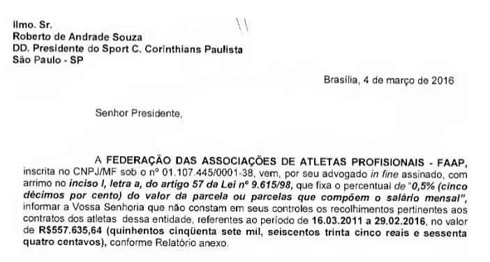 Trecho de documento com cobrança da FAAP ao Corinthians