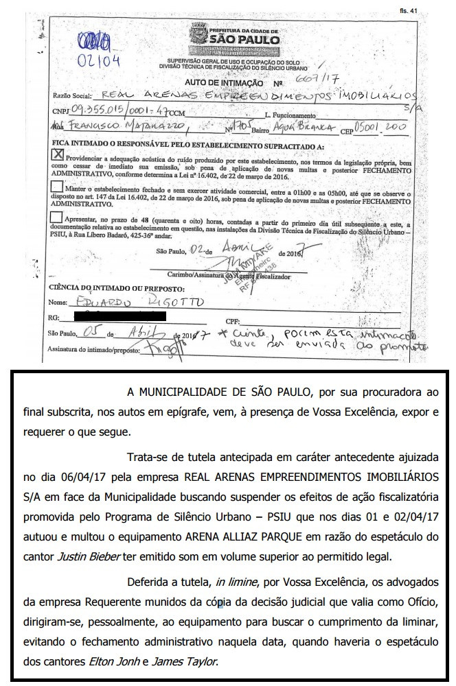 Por ruído excessivo, prefeitura quis interditas o estádio do Palmeiras