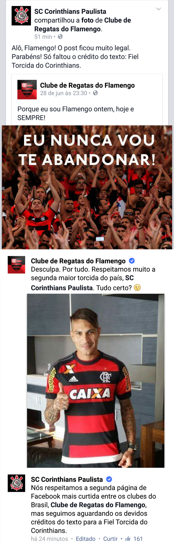 Flamengo e Corinthians trocaram farpas no Facebook 21fc89b1ed4e5