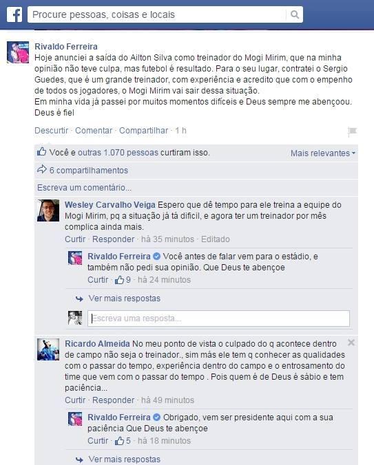 Rivaldo Discussão Torcedor Facebook