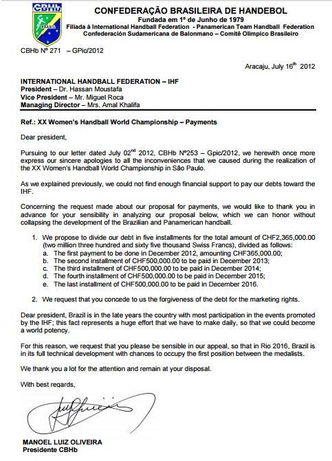 Documento em que presidente da CBHb promete parcelar dívida com a IHF