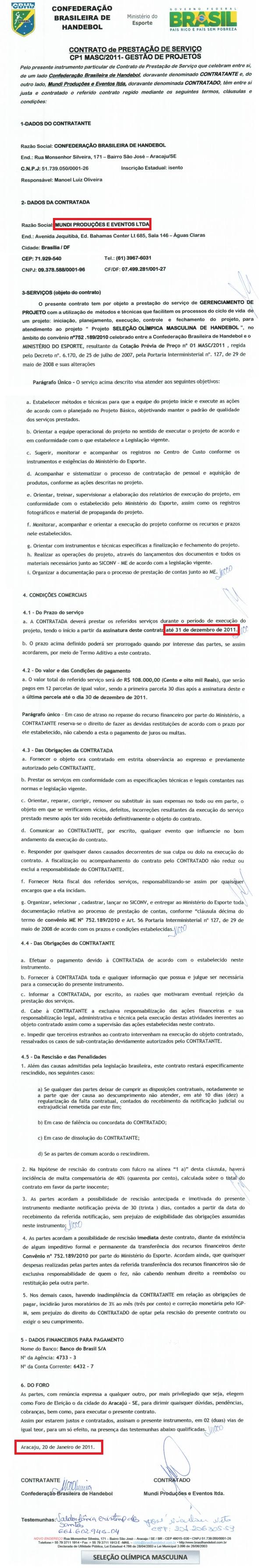 Contrato da CBHb com a Mundi, em 2011, quando o TCU apontou irregularidades na empresa