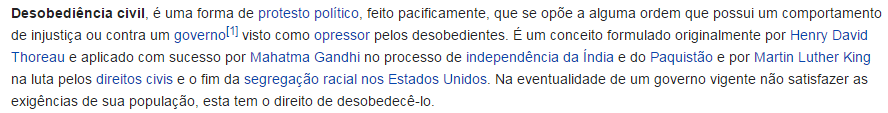 Definição de desobediência civil na Wikipedia
