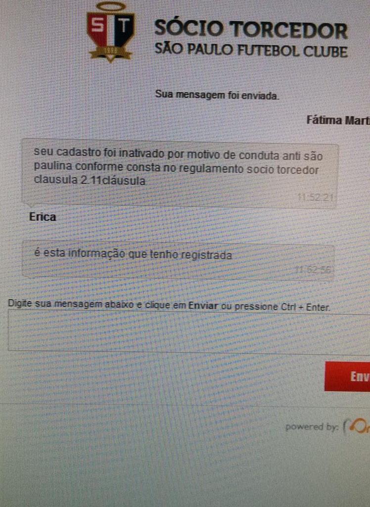 Documento que o São Paulo avisa sobre o motivo do banimento da torcedora