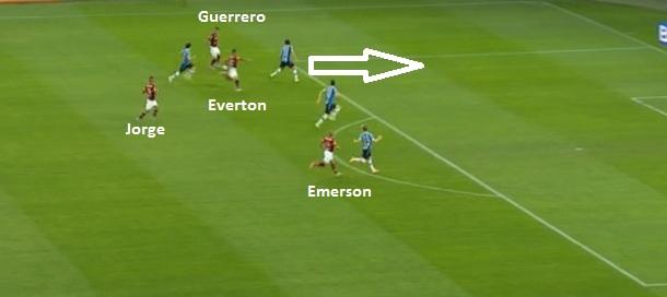 Flagrante do contragolpe rubro-negro com quatro contra quatro - Everton sinaliza e recebe de Guerrero para finalizar.