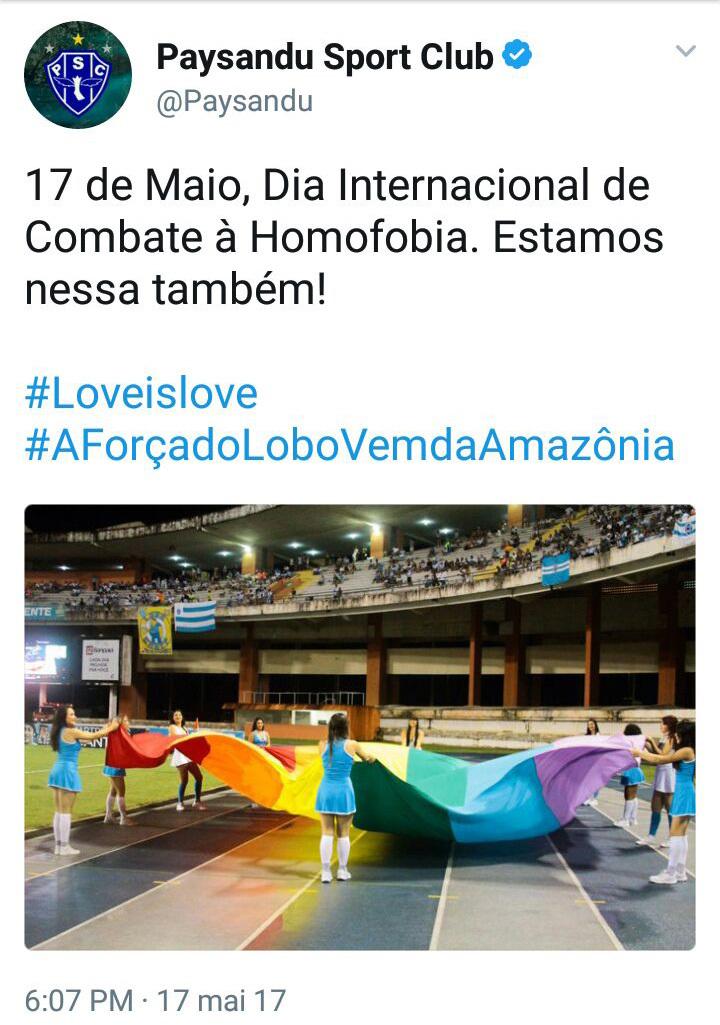 Twitter oficial do Paysandu se manifestando contra a homofobia. Clube pode ser punido por preconceito da torcida