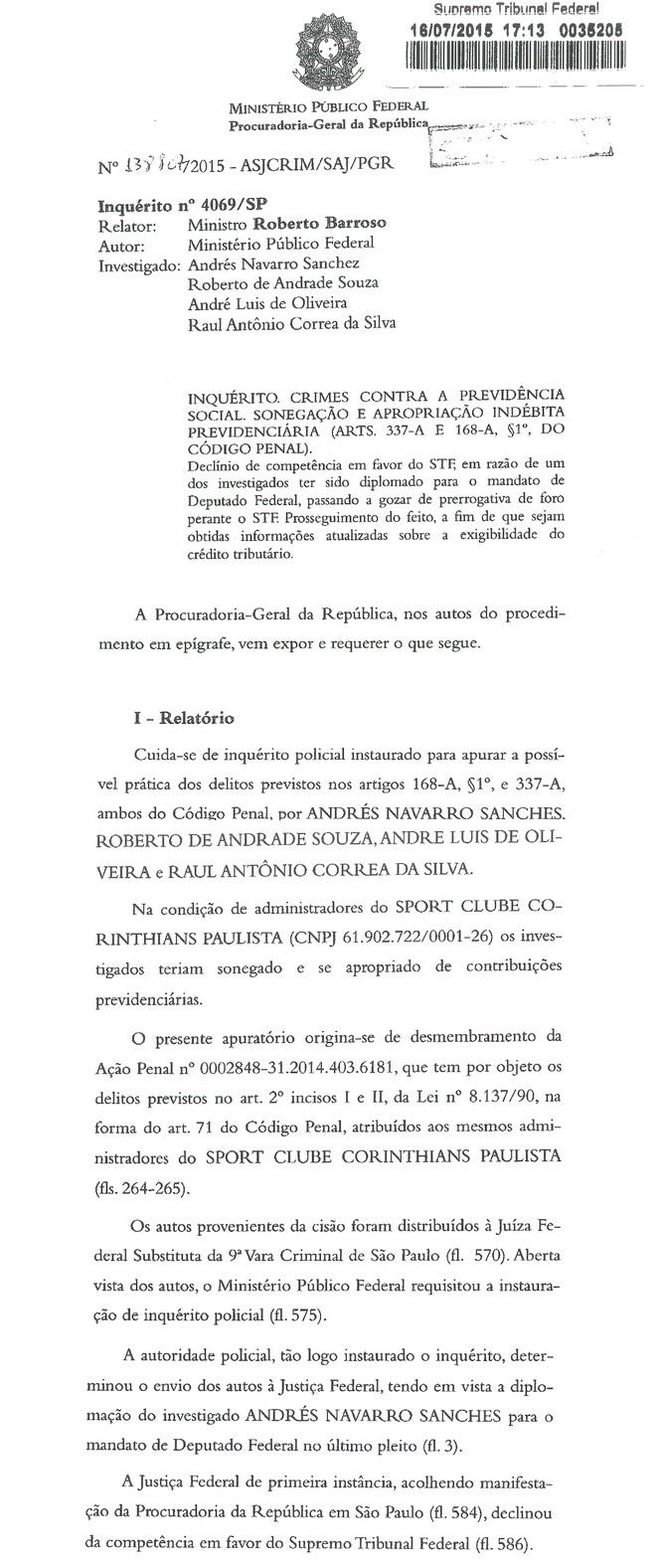 Inquérito do procurador Rodrigo Janot em processo contra corintianos