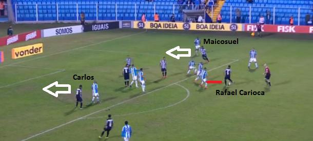 Pintura no quarto e último gol: o camisa cinco, mesmo com três cercando, clareia a jogada com passe preciso para Maicosuel que serve Carlos livre.