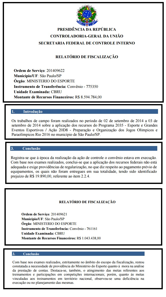 Conclusões da CGU sobre dois convênios firmados com o Rugby