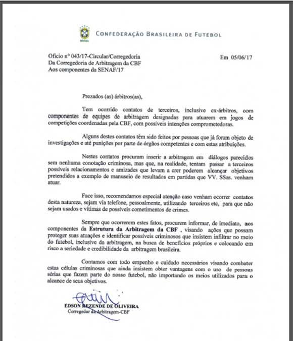 Circular enviada aos árbitros pelo corregedor de arbitragem da CBF, Edson Resende