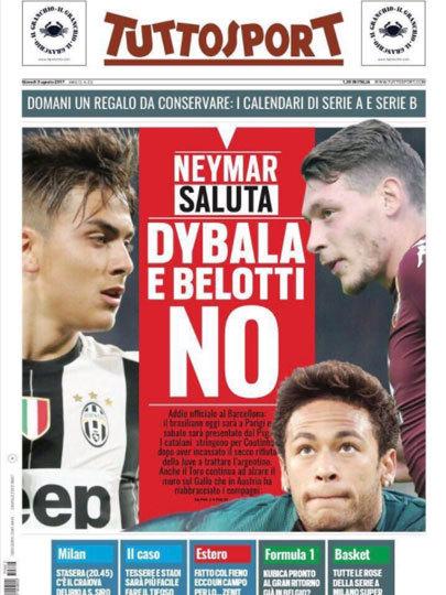 """Manchete do jornal italiano TuttoSport: """"Neymar brinda"""" """"Dybala e Belotti não"""", se referindo às negociações falhas dos jogadores"""
