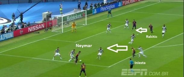 97c3ab513c Flagrante do momento em que Iniesta ataca o espaço vazio facilitando o  passe de Neymar e