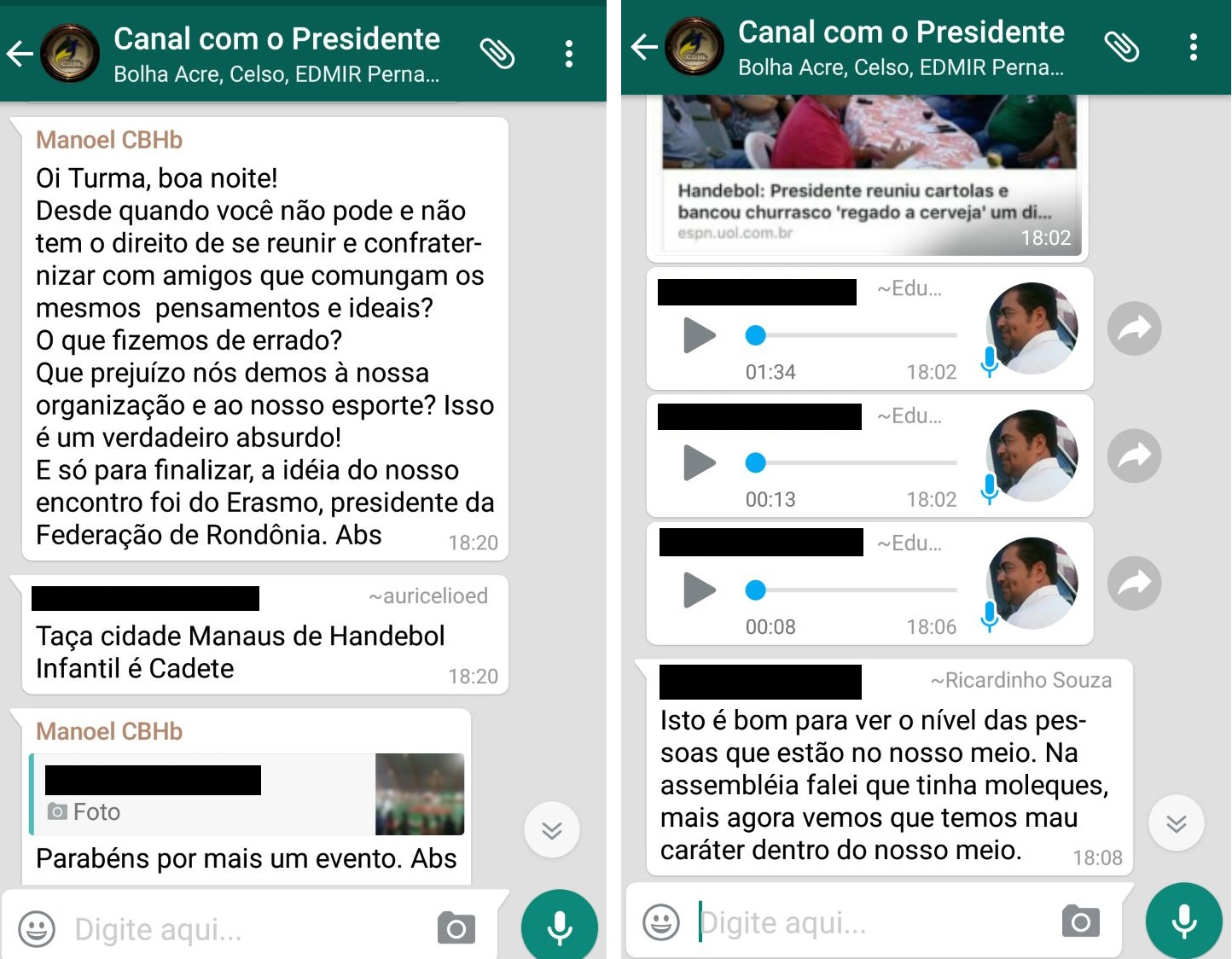 Presidente da CBHb mandou mensagem em que falou sobre a churrascada