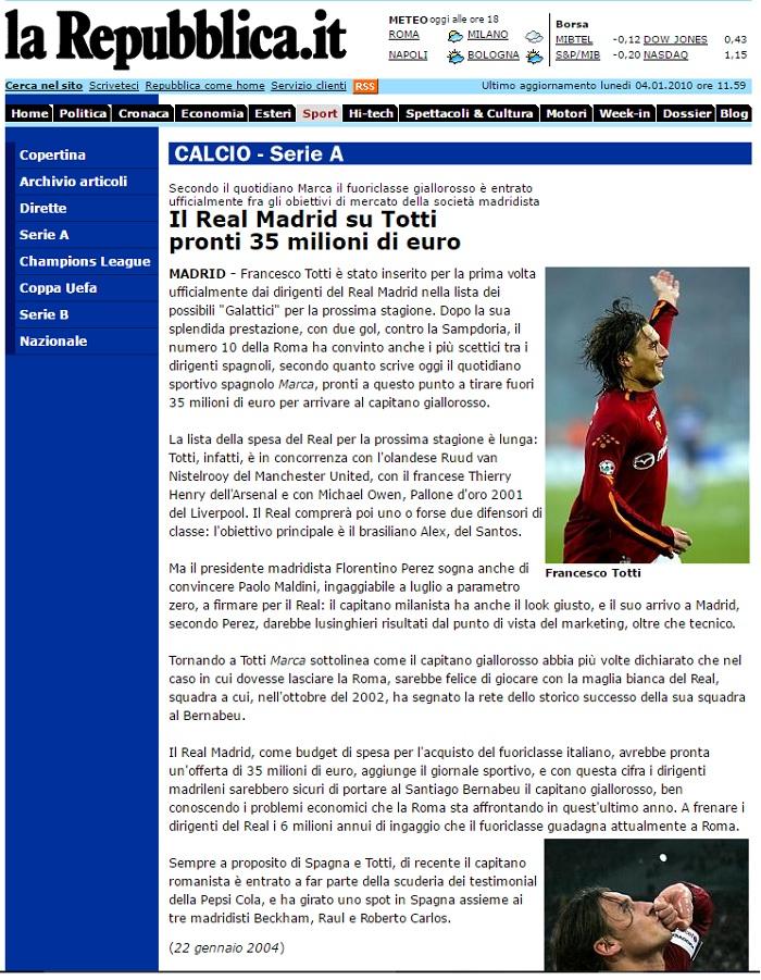 Página de jornal 'La Repubblica' em janeiro de 2004: Totti recusa os milhões do Real Madrid