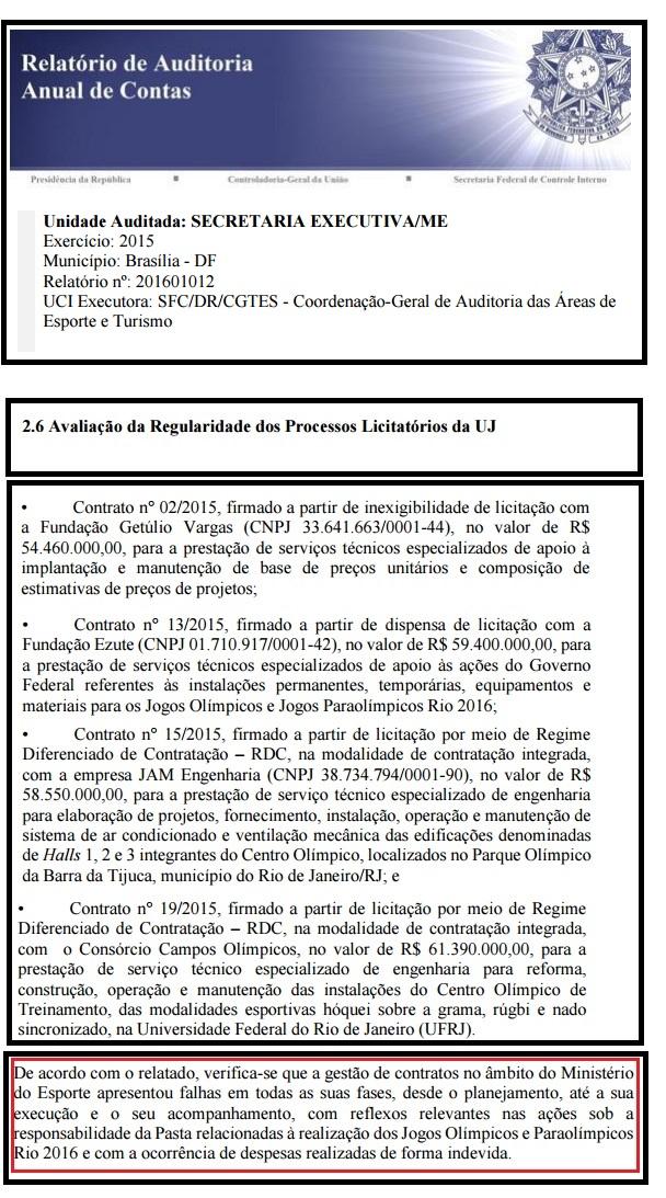 Ministério da Transparência viu inconsistências em contratos para o Rio 2016
