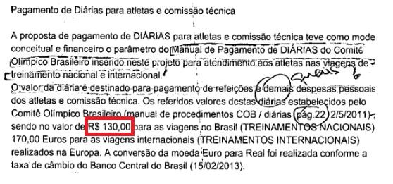 Diária dos atletas era de R$ 130 quando os treinos eram no Brasil