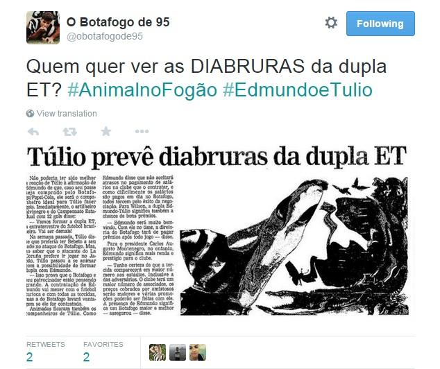Negociação de Botafogo com Edmundo, de exatos 20 anos atrás, foi abordada pelo perfil