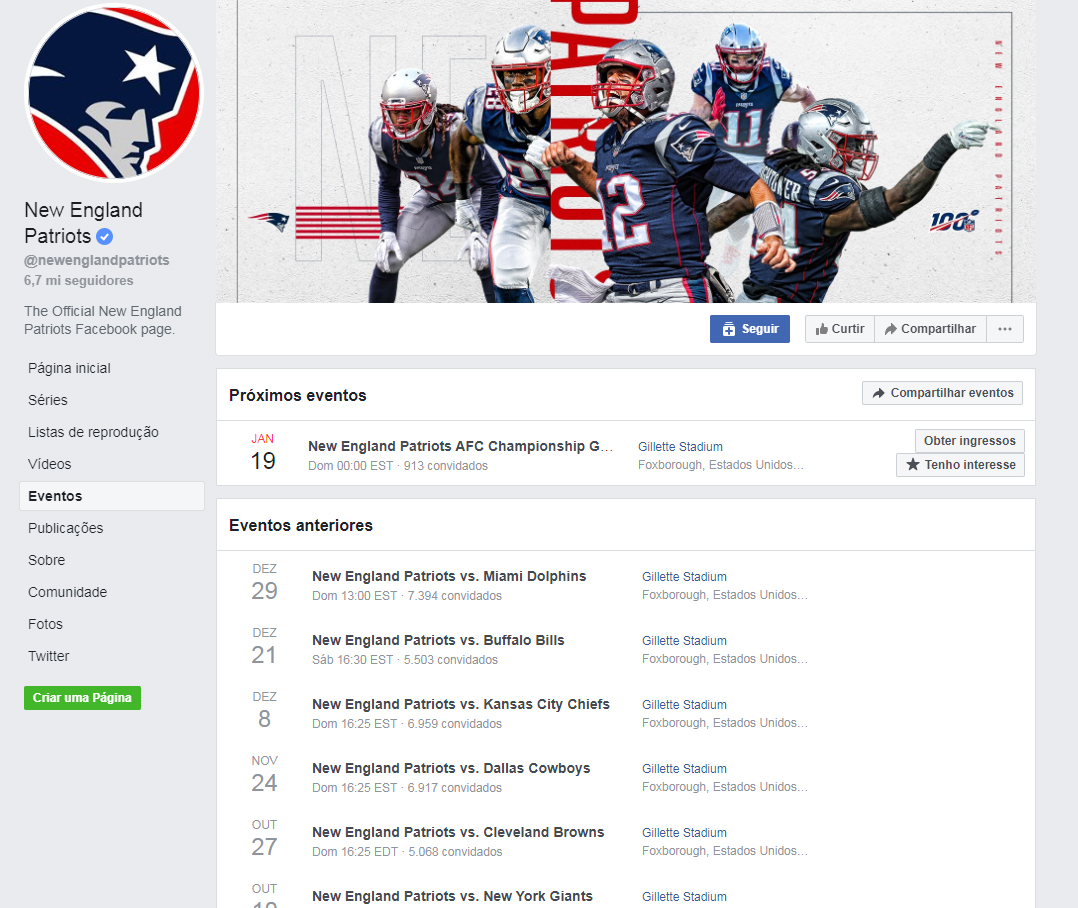 Evento dos Patriots no Facebook