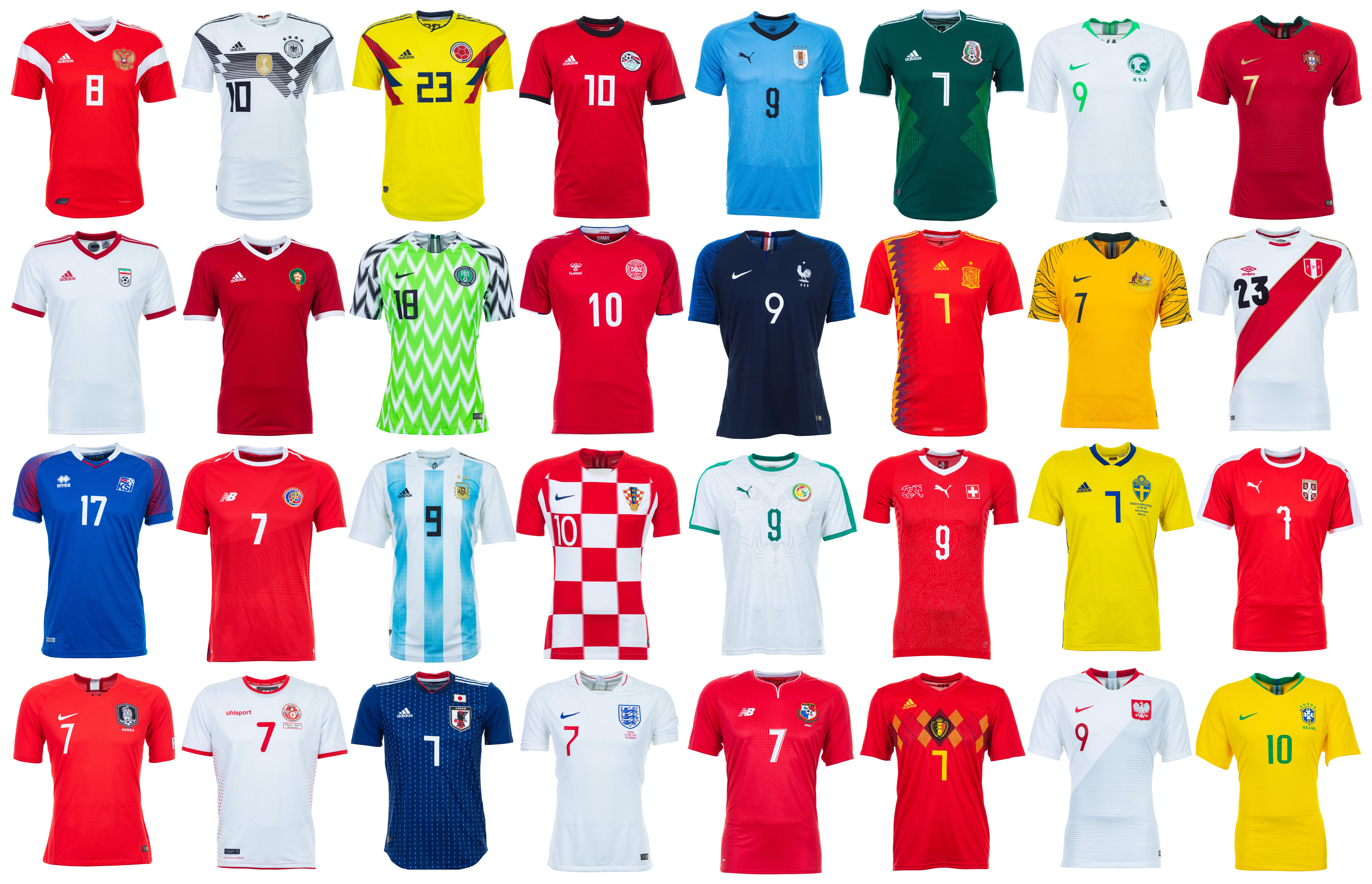 896d5a910b A agência Getty Images disponibilizou fotos em alta resolução das camisas  titulares das 32 seleções que vão disputar a Copa do Mundo de 2018