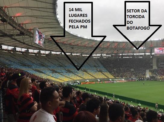 Parte do setor sul do Maracanã interditado pela PM para separar torcidas de Fla e Botafogo