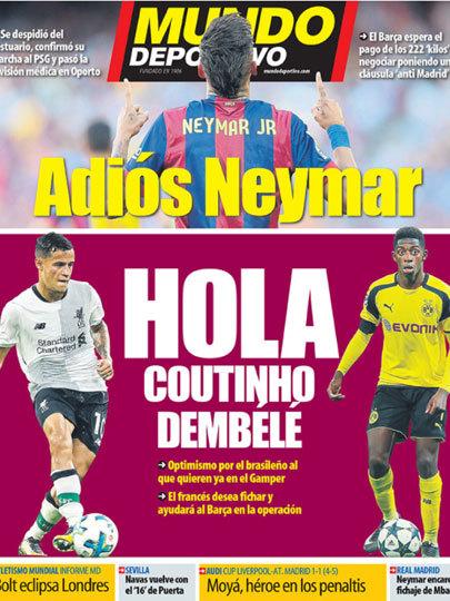 """""""Adeus, Neymar"""" Mundo Desportivo, da Espanha"""